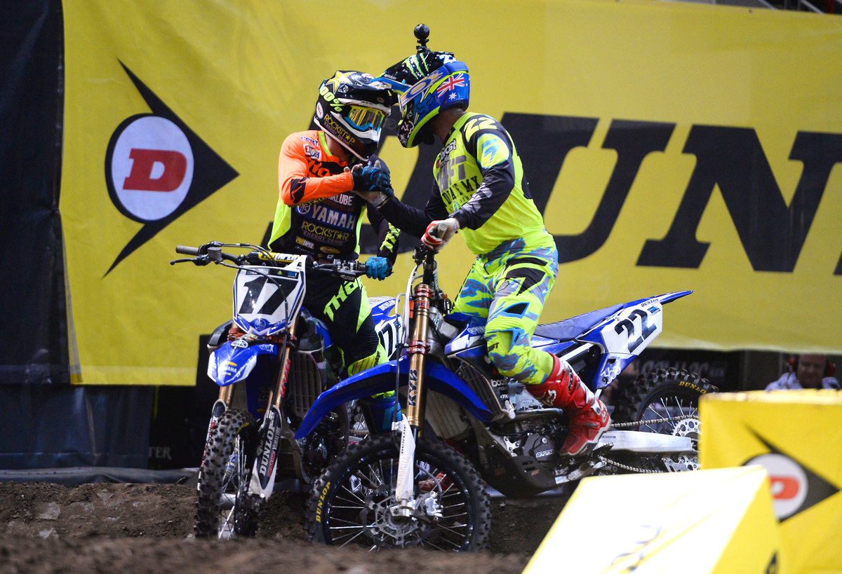 Cooper Webb (Yamaha) takes first, Chad Reed (Yahama) second and Lawson Bopping (Yamaha) third in the SX1 final.  AUS-X Open Sydney NSW Sunday 29 November 2015 © Sport the library / Courtney Crow