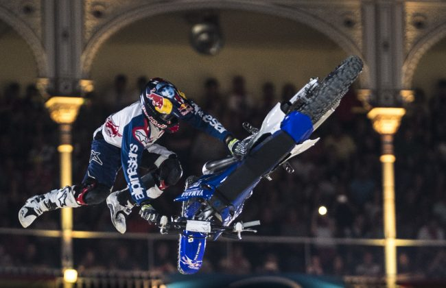 Tom Pages of France performs during the finals at the Red Bull X-fighters in Madrid, Spain on June 24, 2016.
