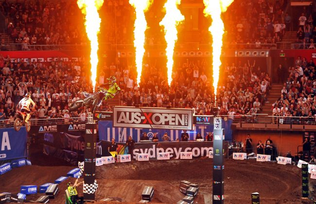 Chad Reed (Yahama) wins SX1 final.  AUS-X Open Sydney NSW Saturday 28 November 2015 © Sport the library / Courtney Crow