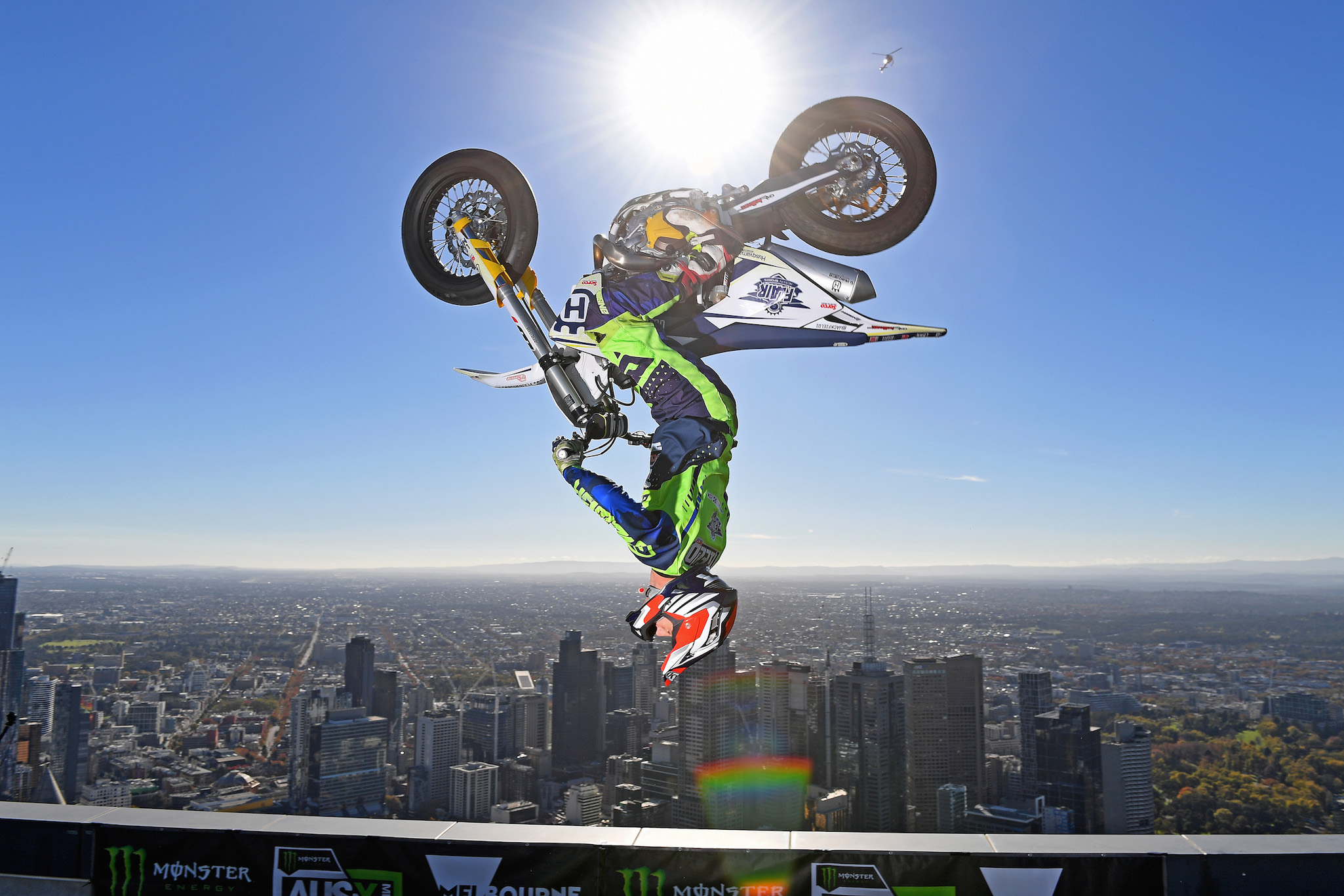 Jack Field (Flair Riders) preforms 300m above there city of Melbourne Aus-X Open Melbourne preview 90th Floor / Eureka Tower Sky Deck MELBOURNE VIC AUS Wednesday 22 May 2019 © STL / Jeff Crow / AME Management